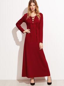 Burgundy Lace Up A-Line Dress