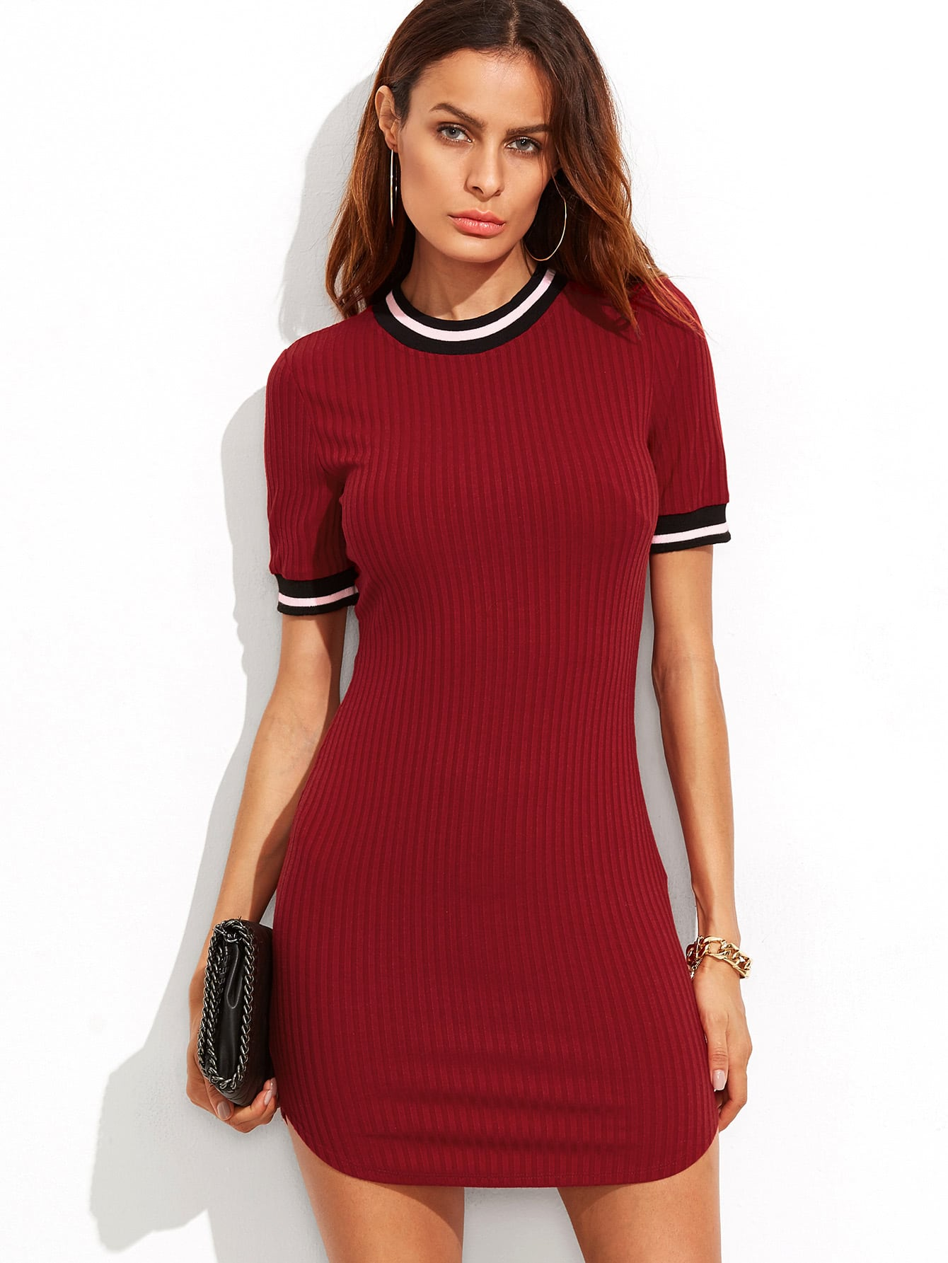 Burgundy Striped Trim Ribbed Knit Bodycon Dress