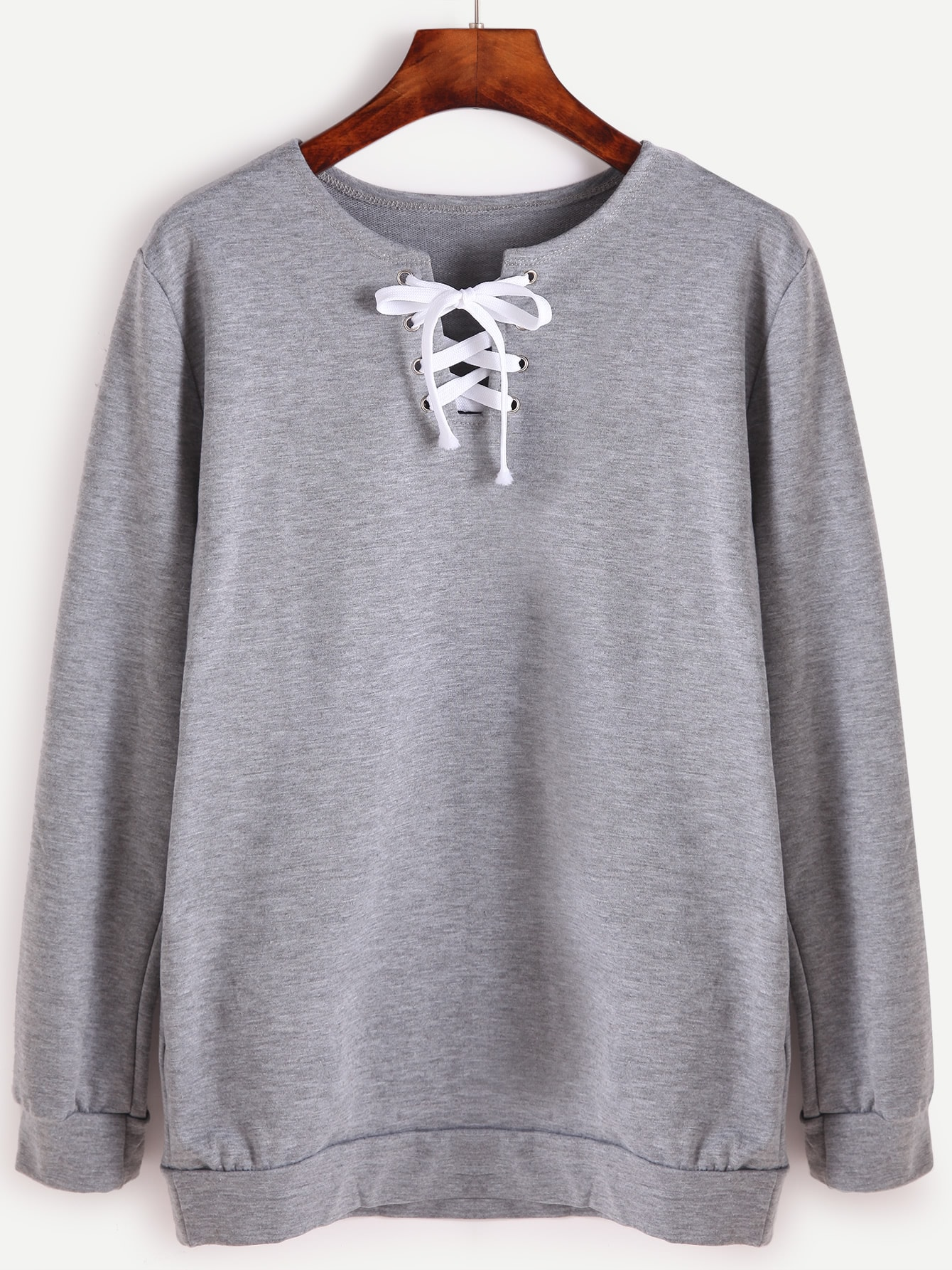 Grey Lace Up Front Long Sleeve SweatshirtGrey Lace Up Front Long Sleeve Sweatshirt<br><br>color: Grey<br>size: L,M,S,XL