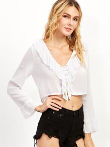 White Eyelet Lace Up Ruffle Top