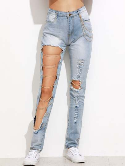 Blue Chain Detail Ripped Pants