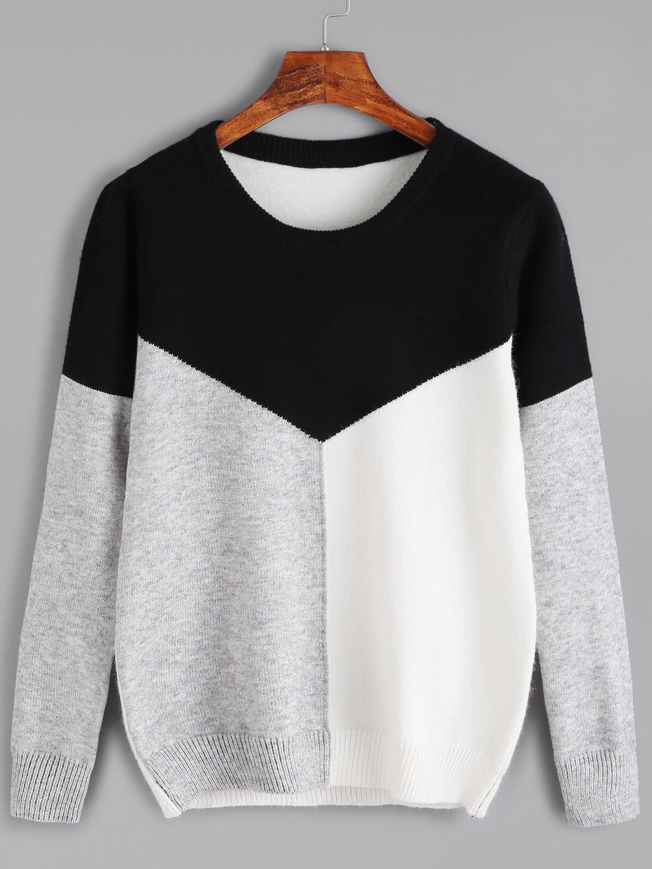 Color Black Round Neck Jersey Sweater sweater160926301