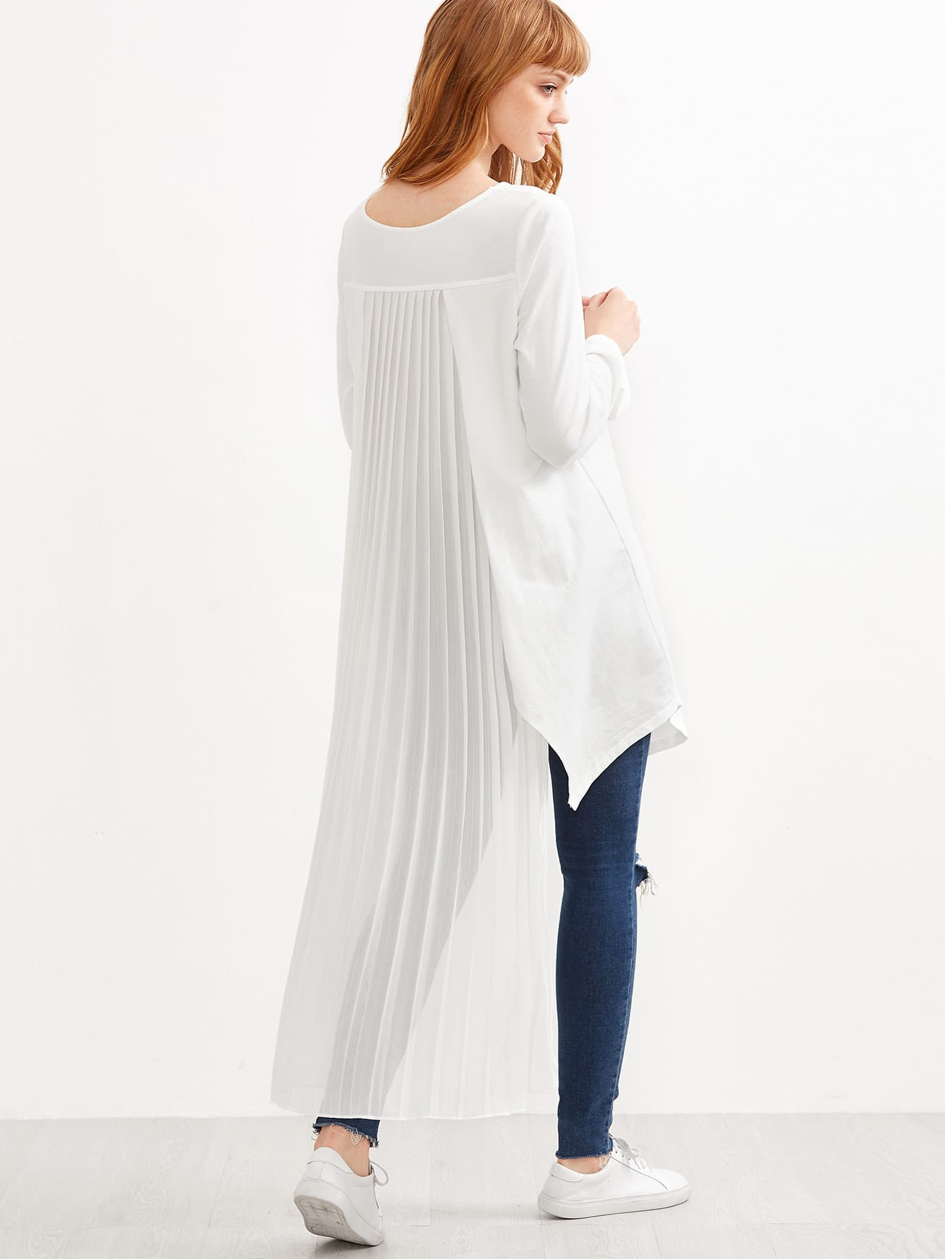 White Pleated Back High Low Top blouse160908505