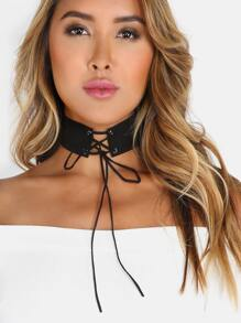 Criss Cross Tie Suede Choker BLACK