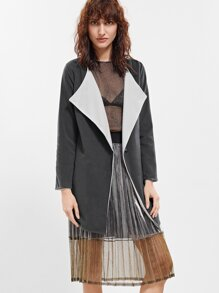 Grey Contrast Lining Curved Hem Slit Side Coat