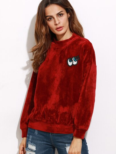 Velvet Mock Neck Drop Shoulder Cartoon Eye Patch Sweatshirt