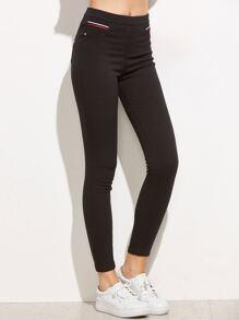 Black Elastic Waist Striped Trim Pants