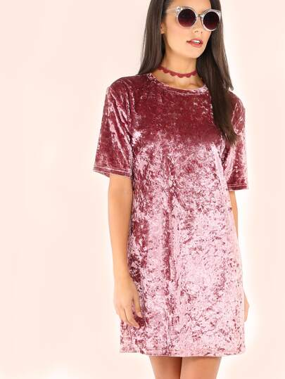 Crushed Velvet T-shirt Dress -SheIn(Sheinside)