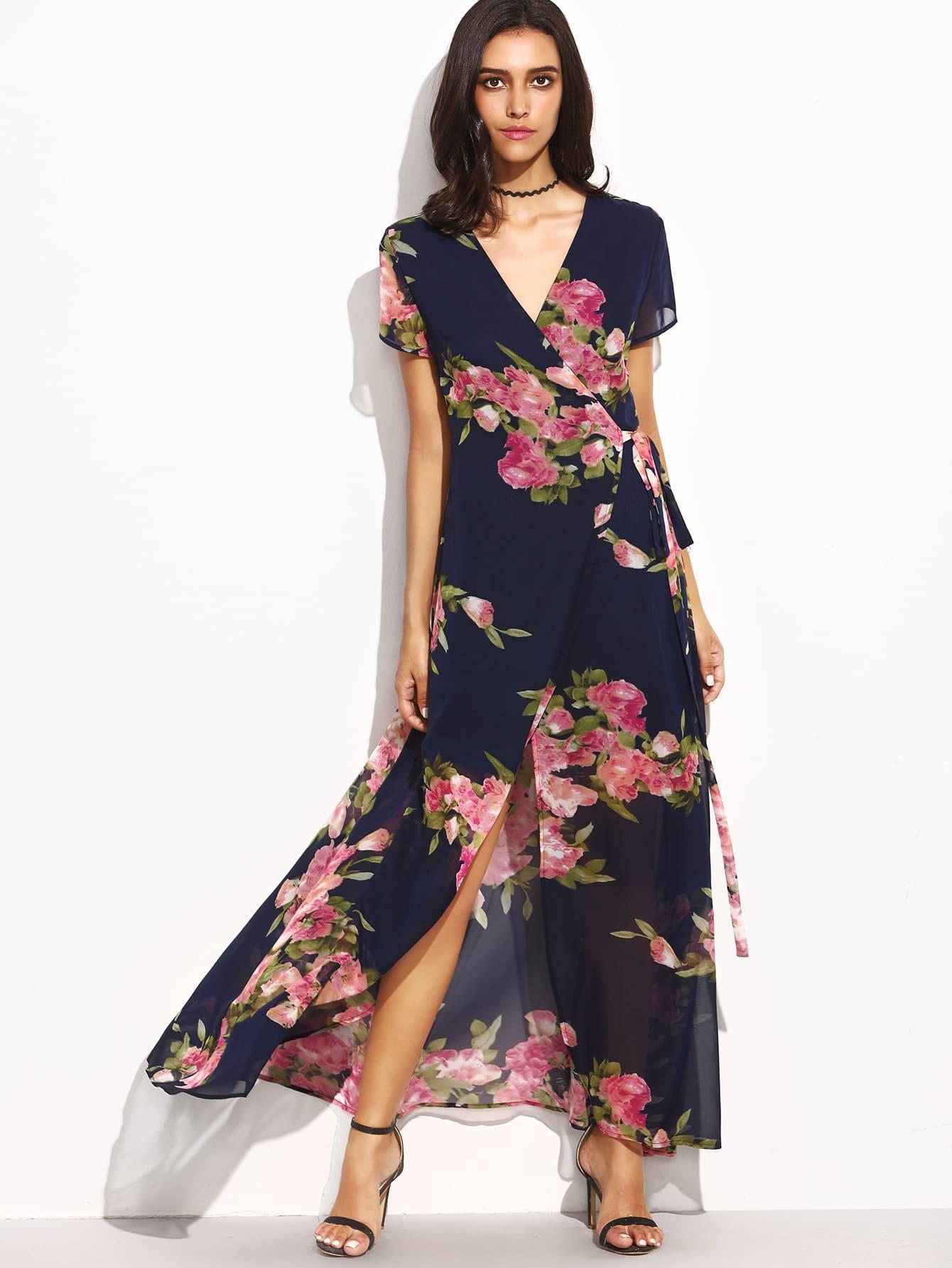 Фото Flower Print Tie Waist High Split Wrap Dress. Купить с доставкой