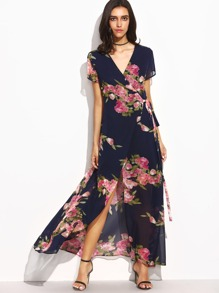 Flower Print Tie Waist High Split Wrap Dress