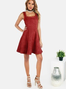 Faux Suede Scallop Skater Dress BURGUNDY