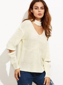 Beige Cut Out Loose Sweater With Zip Detail