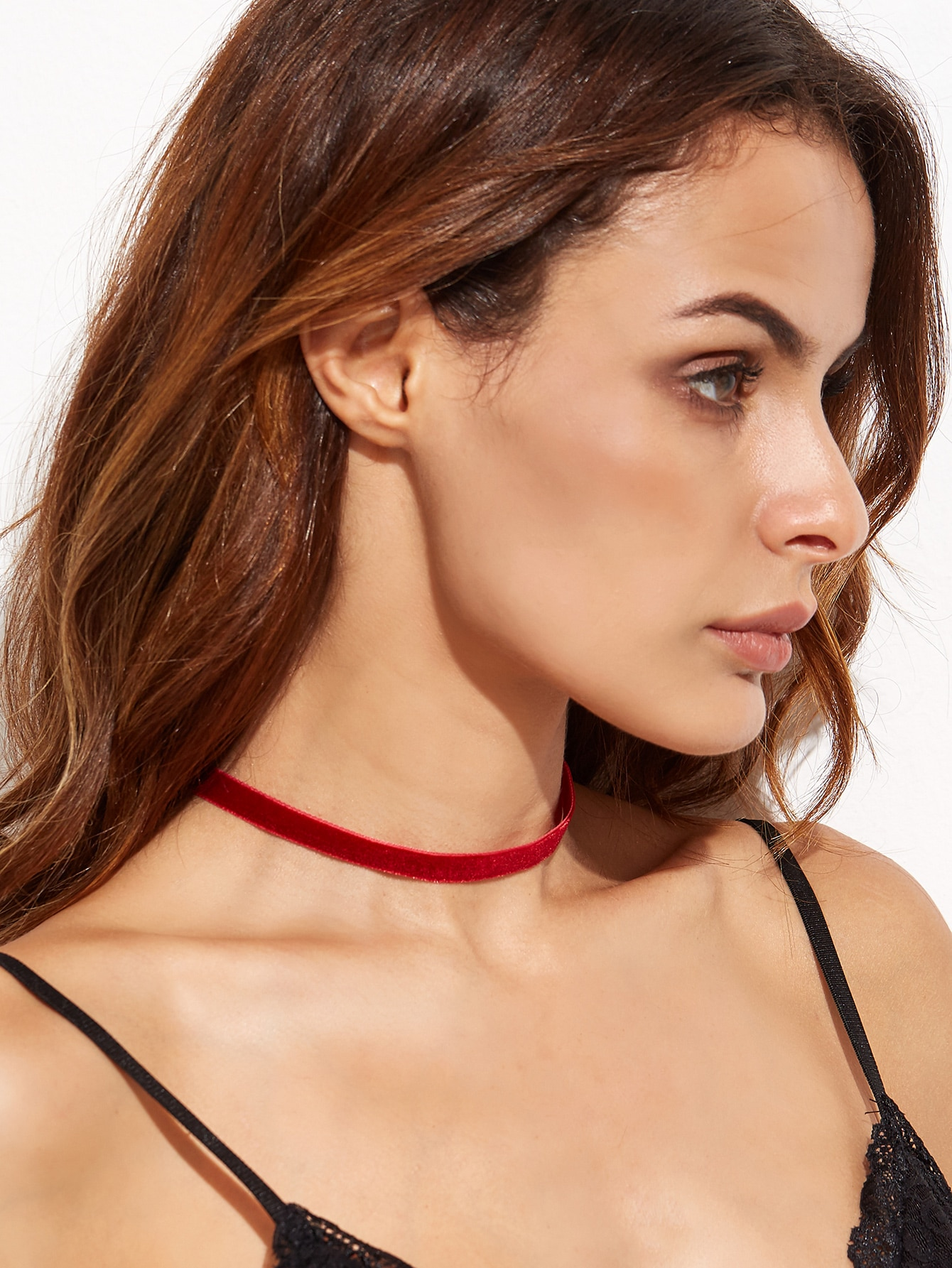 Burgundy Velvet Choker Necklace