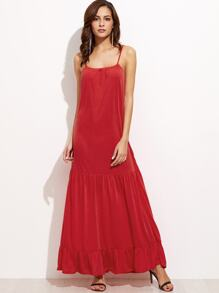 Red Ruffle Hem Slip Dress