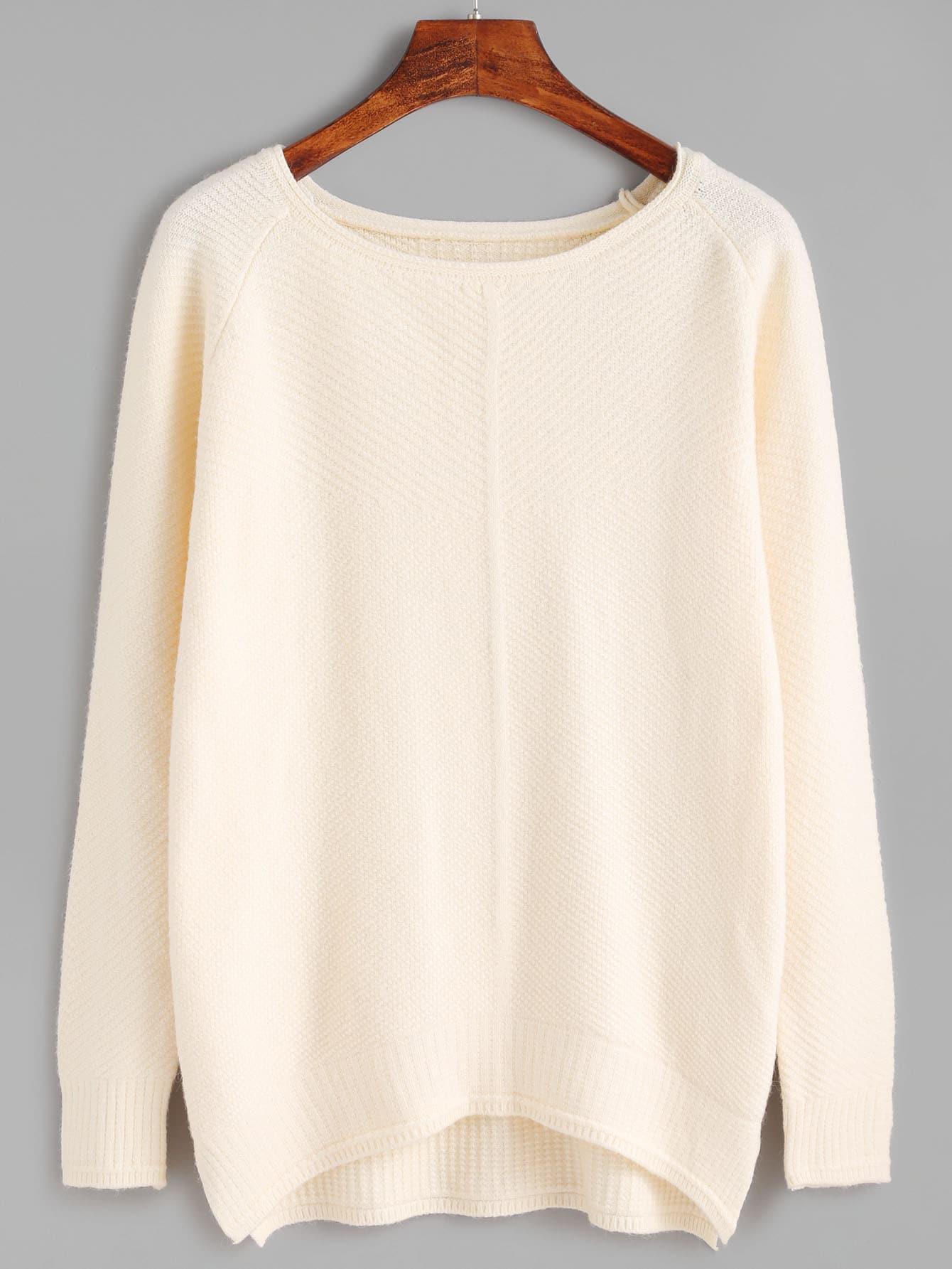 Apricot Raglan Sleeve Dip Hem Sweater sweater160928101