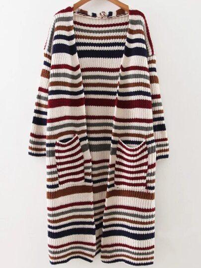 Red Striped Drop Shoulder Pocket Long Cardigan