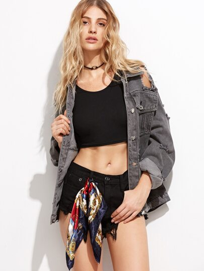 Extreme Distressed Boyfriend Denim Jacket