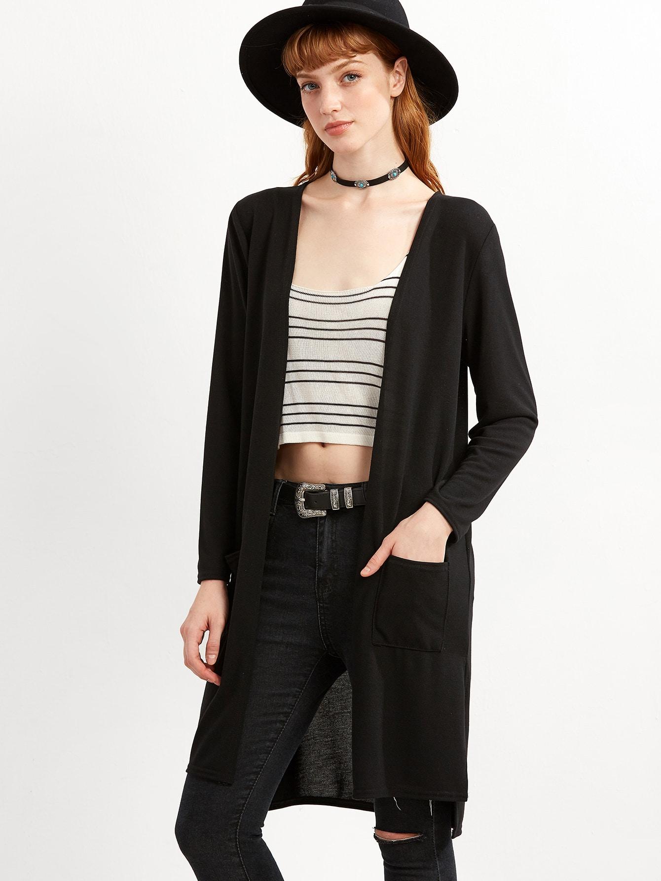 Black Slit Side High Low Pockets Cardigan sweater160916105
