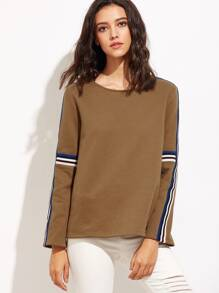 Coffee Striped Tape Embellished Sweatshirt