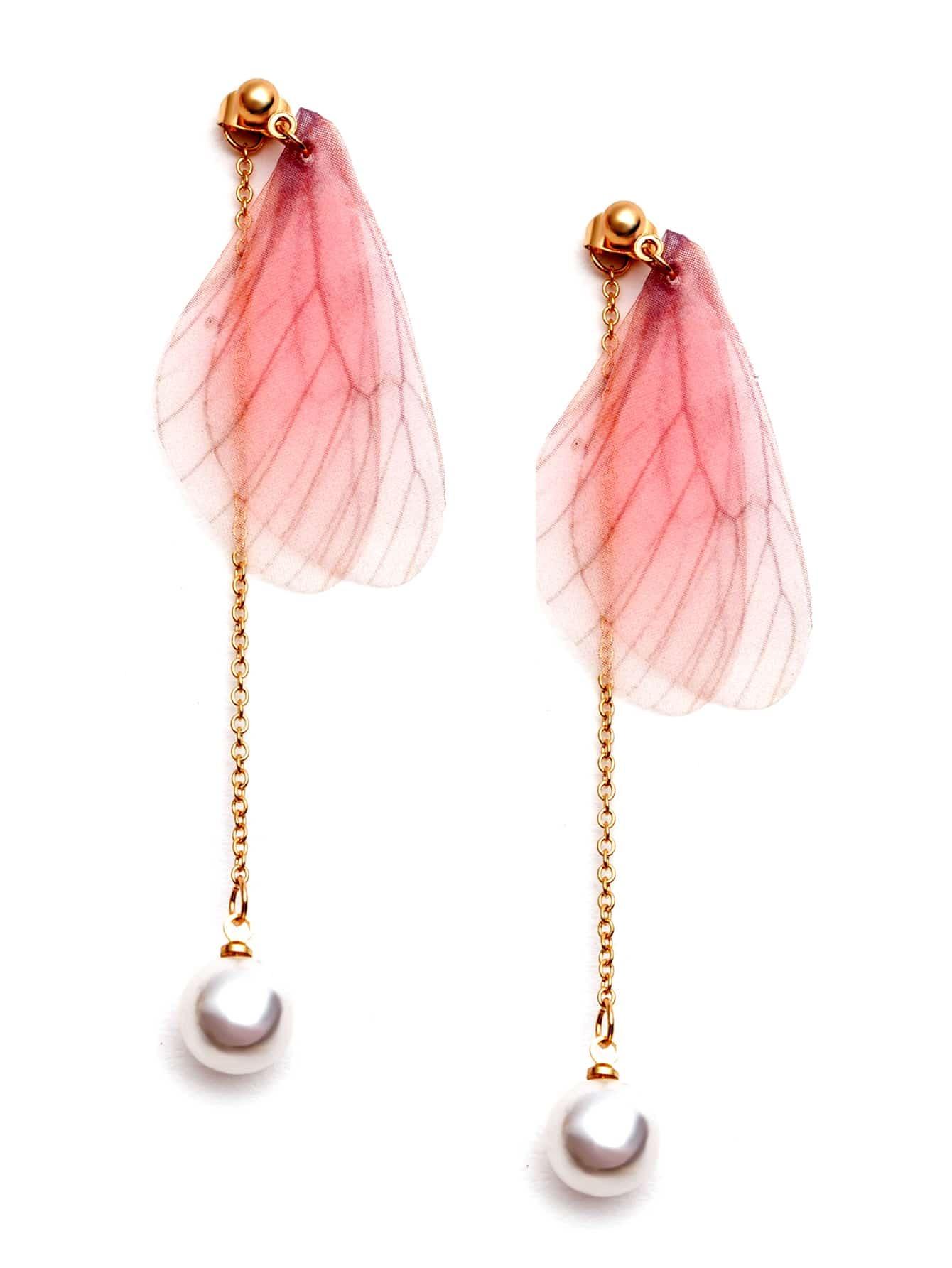 Pink Butterfly Wing Faux Pearl Drop Earrings