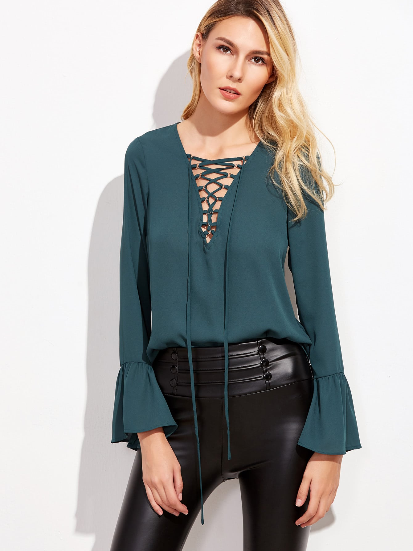Rich Green Lace Up V Neck Bell Sleeve Blouse blouse161005401