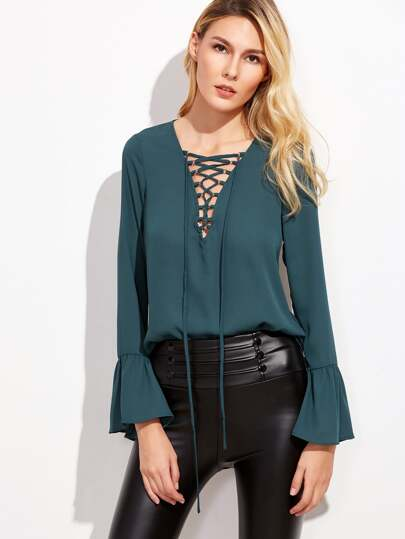 Rich Green Lace Up V Neck Bell Sleeve Blouse
