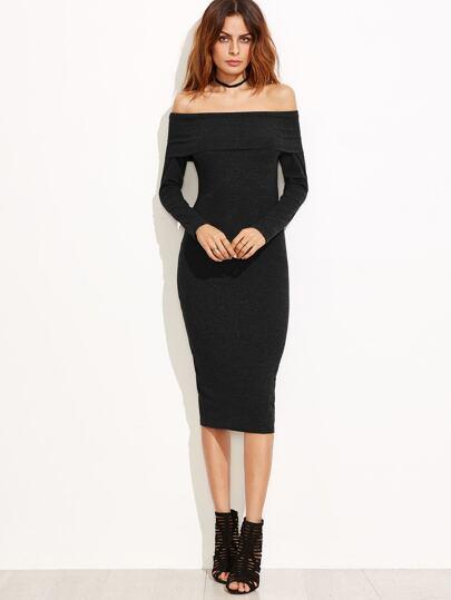 Foldover Bardot Pencil Dress
