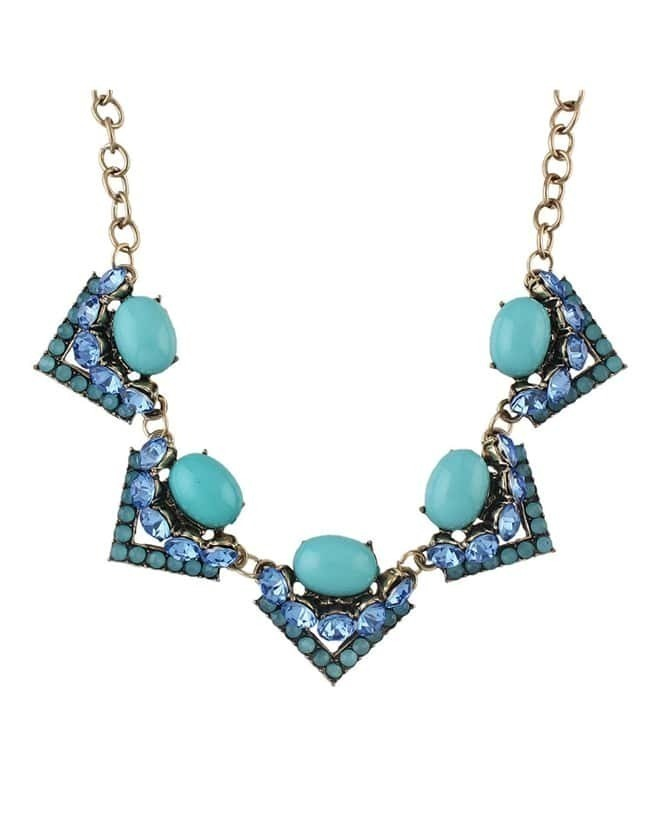 Rhinestone Flower Statement Necklace NC7971
