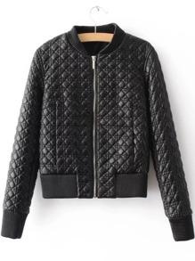 Black Quilted Zipper Up PU Jacket