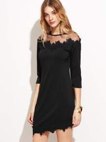 Black Sheer Mesh Applique Dress