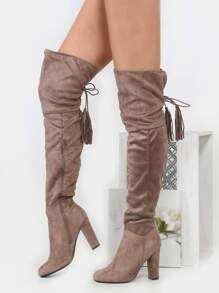 Thigh High Tassel Lace Up Boots TAUPE
