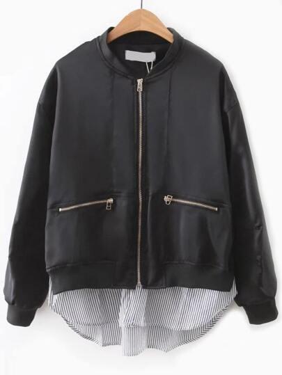 Black Contrast Hem Zipper Pocket Flight Jacket