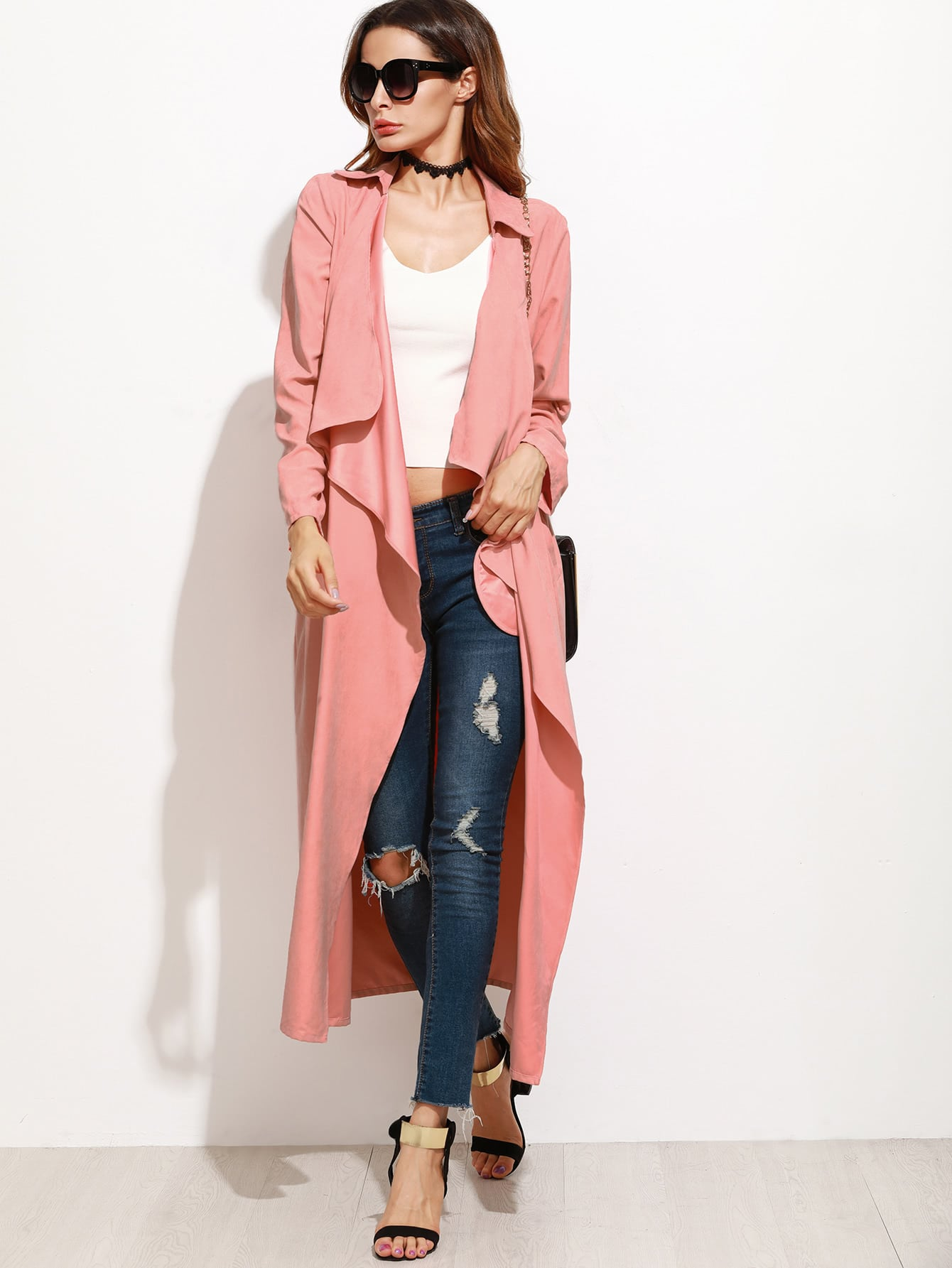 Pink Faux Suede Waterfall Collar Duster Coat