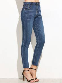High Waist Fringe Denim Pants