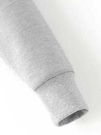 Letter Embroidery Crop Hooded Sweatshirt