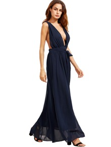 Navy Deep V Neck Self-tie Waist Maxi Dress