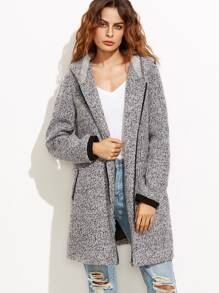 Heather Grey Hooded Zip Front Fluffy Fleece Coat