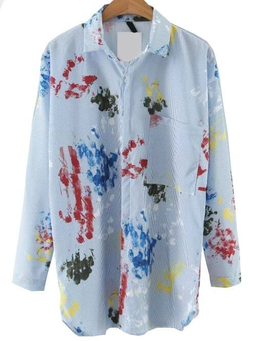 Blue Printed Blouse With PocketBlue Printed Blouse With Pocket<br><br>color: Blue<br>size: L,M
