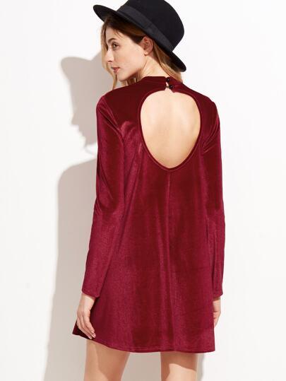 Red Velvet Backless Long Sleeve Shift Dress