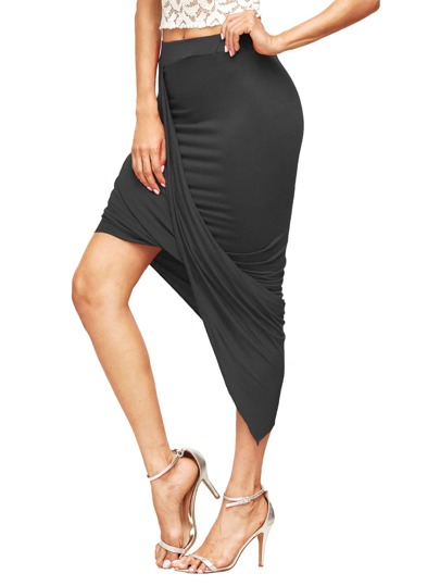 Asymmetrical Ruched Skirt