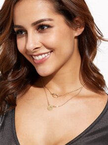 Gold Plated Double Layer Geometric Pendant Necklace