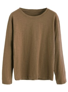Basic T-shirt Tropfen Schulter -khaki