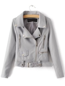 Grey Zipper PU Moto Jacket With Belt
