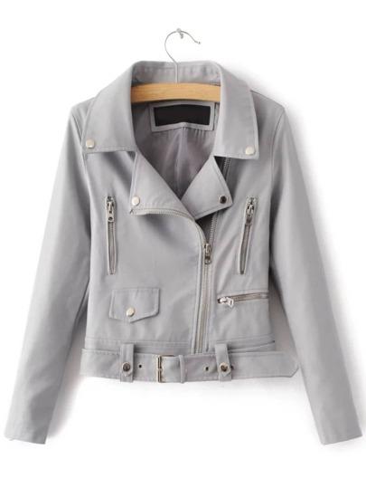 Grey Zipper PU Moto Jacket With Belt
