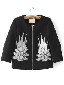 Black Embroidery Zipper Up Coat