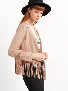 Pale Khaki Fringe Trim Suede Coat