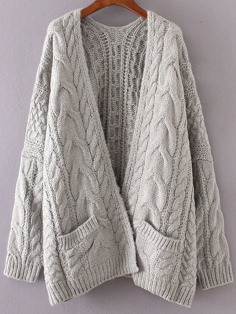 Grey Drop Shoulder Cable Knit Cardigan With Pockets sweater160906206