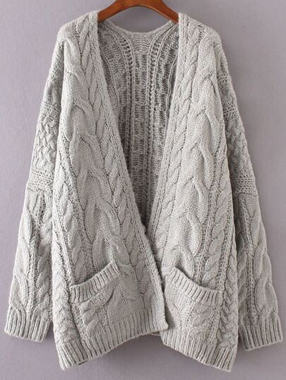 Drop Shoulder Cable Knit Sweater Coat With Pockets