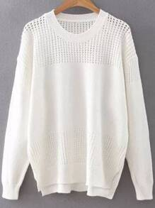 White Hollow Out Side Slit Dip Hem Sweater