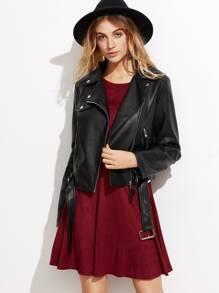 Black Oblique Zipper PU Jacket With Belt